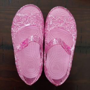 Crocs Pink Glitter Toddler Sandals